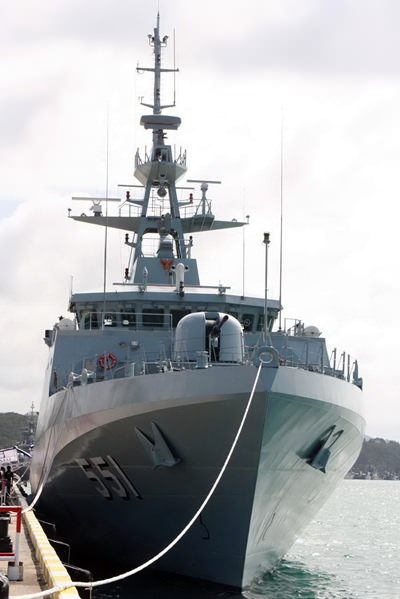 The pride of the Royal Thai Navy, the HTMS Krabi set out from the Sattahip Naval Base Aug. 26.