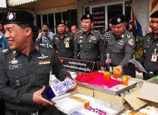 Police put on display the items confiscated in the latest crackdown on crime, which included a cache of sex toys and stimulants.
