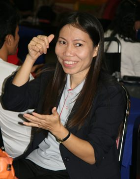 A sign language translator was on hand to assist the deaf delegates.