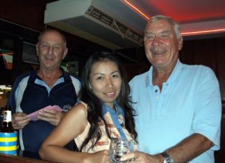 Colin Davis (left) with Yui Bietry (center) and 'player of the month' for August, Peter Henshaw.