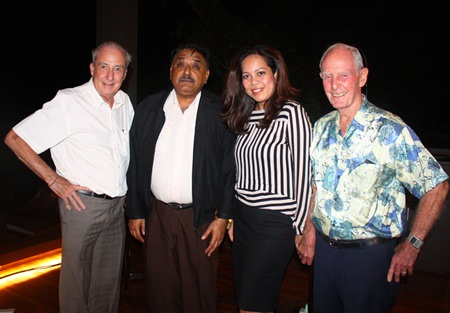 (L to R) Dr. Iain Corness, Peter Malhotra, MD of Pattaya Mail Media Group, Papakan Saguansap, Spa Manager at the Tea Tree Spa, Holiday Inn and Richard Smith.