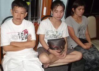 Three of the four women arrested for drug possession await their fate at Pattaya jail.