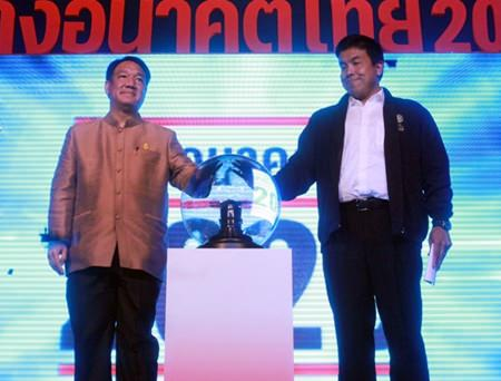 "Kittiratt Na Ranong, Deputy Prime Minister and Minister of Finance, and Dr. Chatchart Sittipan, Minister of Transport, co-chair the opening ceremony for the ""Building the Thai Future for 2020"" Road Show at the Pattaya Exhibition And Convention Hall."