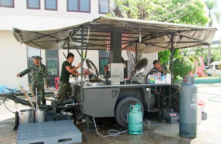 This modern day military chuck wagon, which can produce up to 7,000 meals daily, is being used to help flood victims.