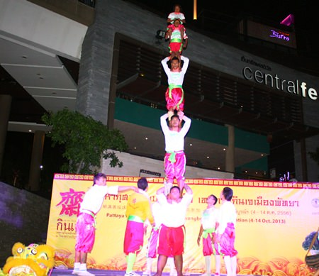 Chinese acrobats help announce this year's Pattaya Vegetarian Festival running from Oct. 4-14.
