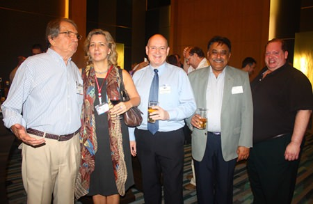 (L to R) George T. Strampp, Managing Partner of AMS, Judy A. Benn, Executive Director of the American Chamber of Commerce in Thailand, Graham Macdonald MBE, Managing Director of MBMG Group, Peter Malhotra, MD of Pattaya Mail Media Group and William Fantozzi, MD of FustTech United Ltd.