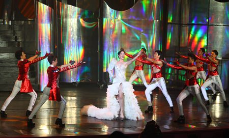 Kevin Balot, Miss International Queen 2012 (middle) opens this year's contest with a majestic show at Tiffany Show, Pattaya.