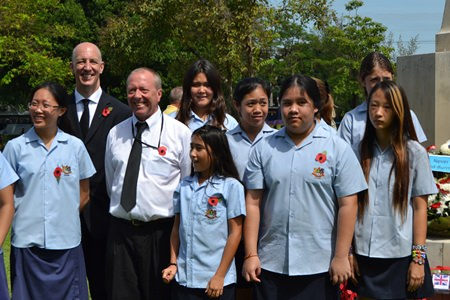 GIS students along with the British Ambassador for Thailand, Mr Mark Kent (back row, far left).