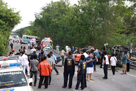 The deadly accident caused major chaos on Route 331 in Huay Yai.