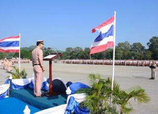 Capt. Wiwat Hajarern addresses the 4,000+ new Royal Thai Navy recruits in Sattahip.