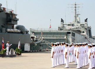 Sailors line up to receive orders for the Royal Thai Navy's 2nd Frigate Squadron end-of-year war games.