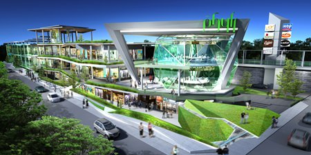 A computer graphic shows the completed The Phyll shopping complex on Sukhumvit 54.