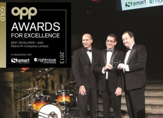 "Matrix Developments MD, Miki Haim (center) receives the gold award for the ""Best Developer – Asia"" at the OPP Awards for Excellence gala dinner in London, November 27, 2013."
