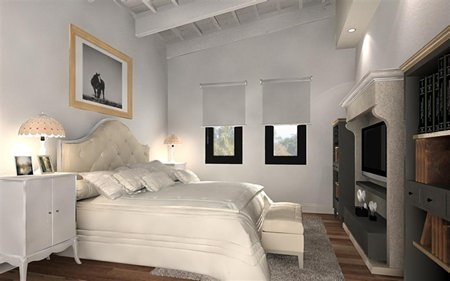 This computer graphic shows a typical bedroom in one of the project's villas.
