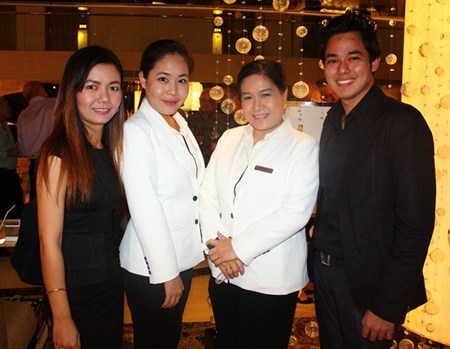 (L to R) Kanmaee Saengchan, Amari Orchid Pattaya, Chananchida Wongsa-ard, Sales & PR Manager, Wassana Pokthang, EAM of Centara Grand Pratamnak Resort Pattaya and Sattawat Charoenlarp, Assta Manager, Sales of Amari Orchid Pattaya.