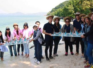 The Royal Thai Navy and friends work to restore the marine environment around Koh Khram to honor HM the King for his recent birthday.