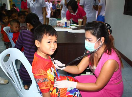 Children from Fountain of Life are given medical check-ups.