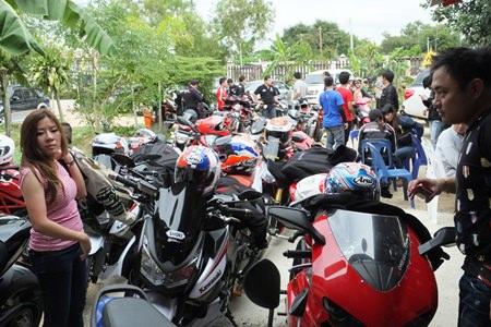 The motorbikes roar into the centre.