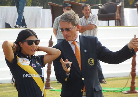 HRH Princess Sirivannavari Nariratana learns more about the rules of polo from Harald Link.
