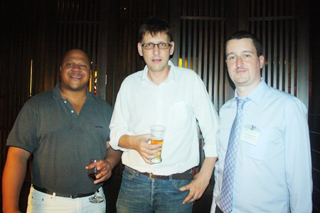 (L to R) Larry Jackson, Business Development of ThyssenKrupp Elevator (Thailand) Co., Ltd., Rainer Roessles from Wine Direct International and Damien Kerneis, Key Account Manager of Geodis Wilson Thai Ltd.