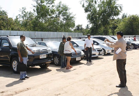Police recovered 28 stolen cars from a field in East Pattaya.