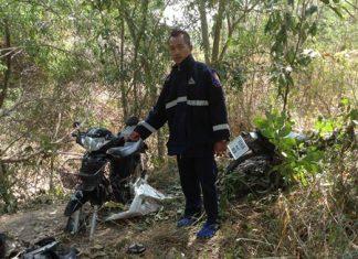 Three partially disassembled, presumably stolen motorbikes were found at Mabprachan Reservoir.
