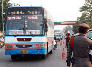 "During the ""seven dangerous days"" over New Year, alcohol checkpoints were operated around the clock to prevent road accidents in Sattahip."
