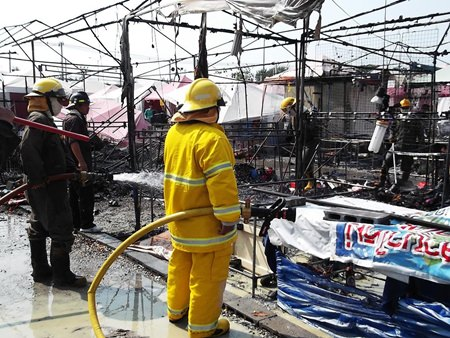 Fire caused over 2 million baht in damages at the Jomtien Night Market, but caused no injuries.