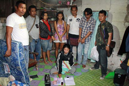 Yapapon Ueaphuea (on floor) was arrested for the 4th time, along with 3 of her customers (background) on drugs offenses.