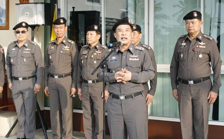 Advisor Gen. Wuthi Liptapanlop and Assistant Commissioner Lt. Gen. Jaktip Chaijinda dispatch New Year's troops in Pattaya.