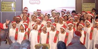 A large group of orphans sang 'Jingle Bells' and other Christmas Carols, accompanied by none other than Santa Claus!