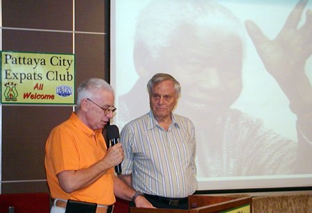 "Guest speaker for Pattaya City Expats Club on 19th of January was member Desmond Bishop; his topic was ""personal reflections on Nelson Mandela"". Here MC Richard Silverberg introduces Desmond."