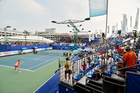 The stadium at the Dusit Thani Hotel was expanded in 2011 to accommodate more spectators at this popular annual WTA tournament.