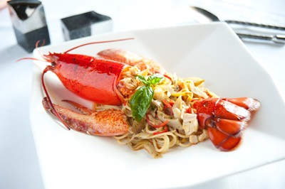 Canadian lobster at Acqua Italian restaurant.