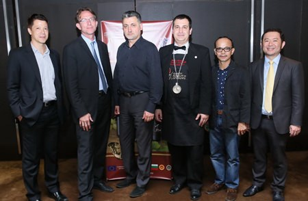 "(From left): Joseph Henry, Managing Director of Vivaldi Seasons Co., Ltd.; MarkAnthony Chesner, Project Manager, Plovdiv Regional Vine and Wine Chamber, ""TRAKIA""; Nikolay Dimitrov, Project Manager, Thracian Wine Region Consortium; Vihren Velkov, Bulgarian Wine Sommelier; Thawatchai Tappitak, a well-known Thai wine expert and Burin Nakcharoen, Chairman of Vivaldi Seasons Co., Ltd. pose together during the presentation of Bulgaria's finest wines at the Amari Orchid."