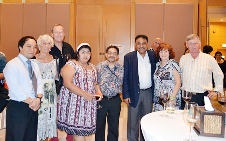 Neil Maniquiz, Manager of the International Marketing Division of the Bangkok Hospital Pattaya, Erika and Peter Strehlau, Vicky and Marlowe Malhotra of Massic Travel, Peter Malhotra, MD Pattaya Mail, Elfi Seitz and Hans Banziger.