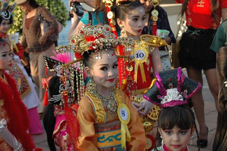Little Miss Chinese Girl contestants prepare to shine under the spotlight.