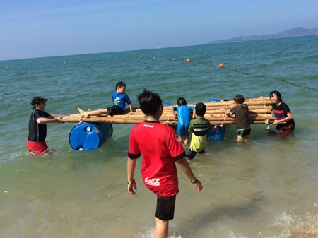 Raft-building with the students from Mechai Pattana School.