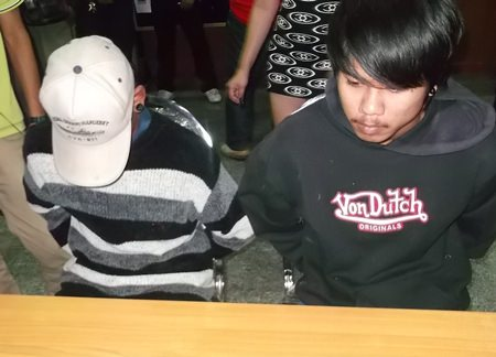Nopporn Kaewthong (right) and his 15-year-old accomplice (left) have been arrested for theft.