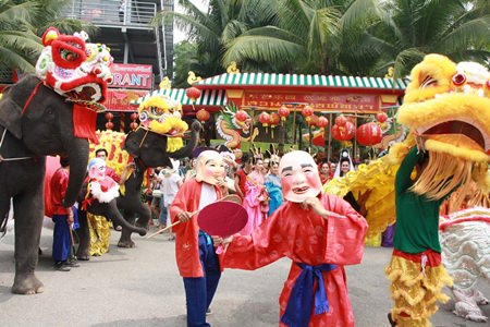 Lions, dragons, elephants and Chinese wise men/women on parade at Nong Nooch Tropical Garden.
