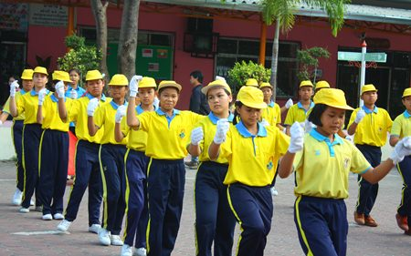 Students at Pattaya School No. 5 exercise as part of the school's health program.
