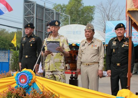 Chonburi Gov. Khomsan Ekachai leads the commemoration of the 60th anniversary of Thailand's Volunteer Defense Corps.