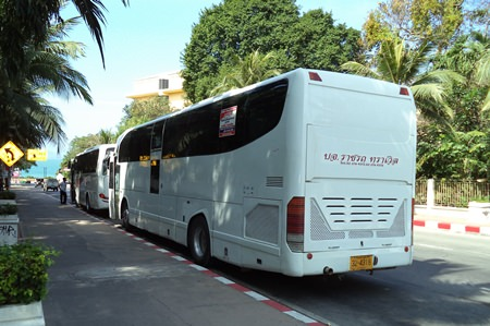 Huge tour buses ignore the red & white painted kerb, and continue to park in the no-parking zone.