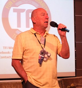 Board member Roy Albiston opens the 26th of January meeting of Pattaya City Expats Club by inviting new members and guests to introduce themselves. Note flag waving Koala celebrating Australia Day!