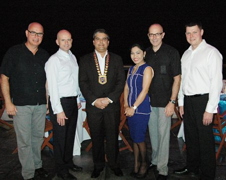 (L to R) George Kenton, Executive Assistant Manager, Rooms, of the Centara Grand Mirage Beach Resort Pattaya; Dominique Ronge, General Manager of the Centara Grand Phratamnak Resort Pattaya; Tony Malhotra, President of Skål Pattaya and East Thailand, Sirilak Khampan, Sales and PR Manager of the Centara Grand Phratamnak Resort Pattaya; Robert John Lohrmann, General Manger of the Centara Grand Mirage Beach Resort Pattaya; and Carl Duggan, EAM F&B at Centara Grand Phratamnak Resort Pattaya.