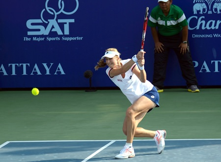 Makarova fires a backhand winner down the line.