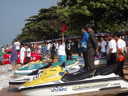 Jet-skis line up on the Jomtien shoreline, ready to do battle in the Feb. 8-9 competition.