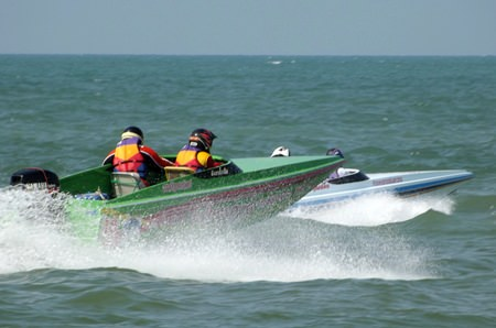 Speedboats contest for honours out on the ocean.