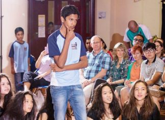 Students took part in several drama workshops.