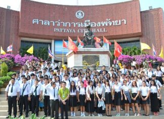 University students from Chachoengsao gather outside Pattaya City Hall for a group photo at the end of their visit.